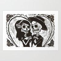 Los Novios (Black and White Version) Art Print