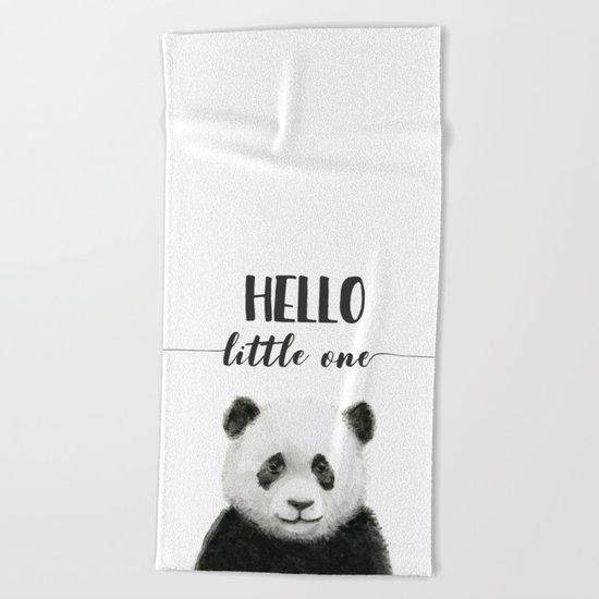Panda Art Print Baby Animals Hello Little One Nursery Decor Beach Towel