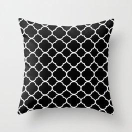 Black & White Moroccan Quatrefoil Design Throw Pillow