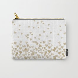 Gold Glitter Hearts - White Background for Valentines Day, Love, Bokeh, for trendy girls cell phone Carry-All Pouch