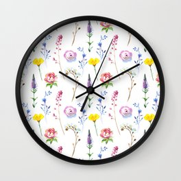 Hand painted watercolor lavender pink floral illustration Wall Clock