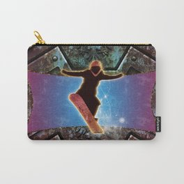 Snowboarder on steampunk background Carry-All Pouch