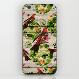 Rustic white wood tropical red green watercolor floral red birds iPhone Skin