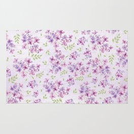 Little Purple and Pink Flowers Rug