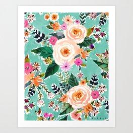 GOOD MOOD Aqua Watercolor Floral Art Print