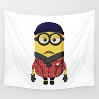 minion Wall Tapestries featuring Hipster Minion by Henrik Norberg