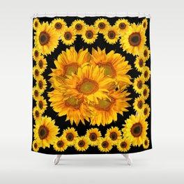 Classic Black & Golden Sunflowers Pattern Art Shower Curtain