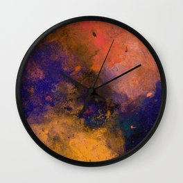 Inner Peace - Orange, red, blue, pastel, textured painting Wall Clock