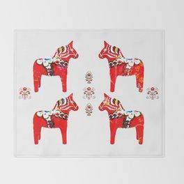 Swedish Dala Horses Throw Blanket