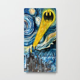 batmans logo stary night Metal Print