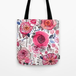 Pink Floral Mix Tote Bag