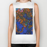 maps Biker Tanks featuring Funky Maps, NEW YORK by MehrFarbeimLeben