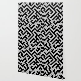 Black and Gray Diagonal Labyrinth Wallpaper