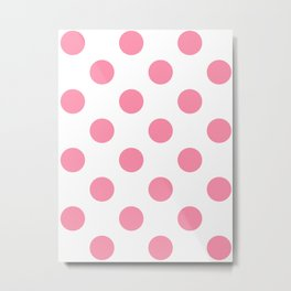 Large Polka Dots - Flamingo Pink on White Metal Print