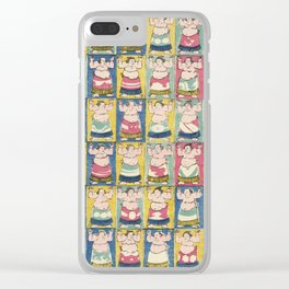 Sumo Wrestlers, Utagawa Yoshikazu, Woodcut Clear iPhone Case