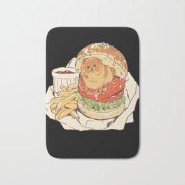 dog in hamburger Bath Mat