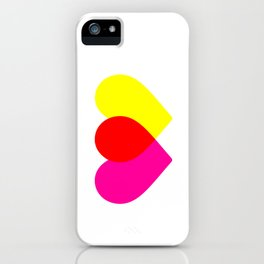 Love hearts (pink & yellow) iPhone Case