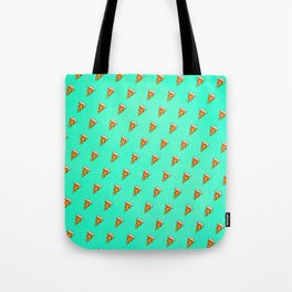 Cool and Trendy Pizza Pattern in Super Acid green / turquoise / blue Tote Bag