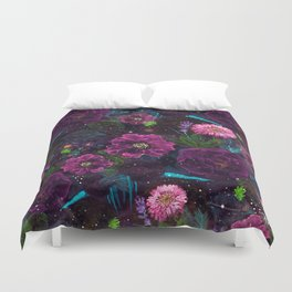 Whimsical Watercolor night garden floral hand paint Duvet Cover