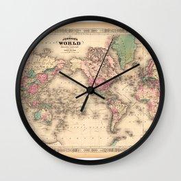1861 World Map - Johnson's World on Mercators Projection Wall Clock