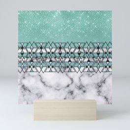 Modern Teal Glitter Marble Geometric Tribal Triangles Mini Art Print