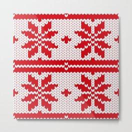 Red and White Snowflake Knitting Pattern Metal Print