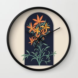 Orange Lily Illustration Wall Clock