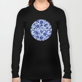 Azulejos blue floral pattern Long Sleeve T-shirt