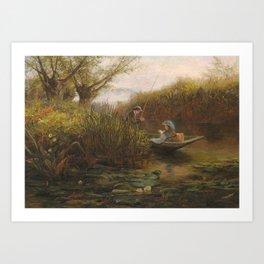 James Aumonier RI (1832-1911) River Landscape with couple in a punt Art Print