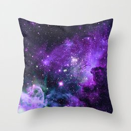 Purple Teal Green Carina Nebula Throw Pillow
