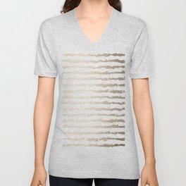 White Gold Sands Ink Stripes Unisex V-Neck