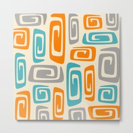 Mid Century Modern Cosmic Abstract 740 Orange Blue and Gray Metal Print