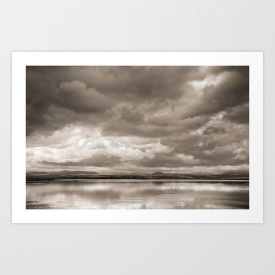 Stormy lake. Vintage Art Print
