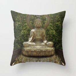 A Buddha in the Japanese Tea Garden, Golden Gate Park, San Francisco, California Throw Pillow