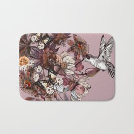 Tropical design with exotic flowers and hummingbird Bath Mat