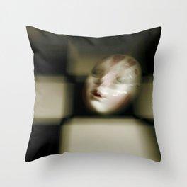 Masquerade Mask on Checkered Backdrop Throw Pillow