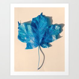 Blue Leaf 3 Art Print
