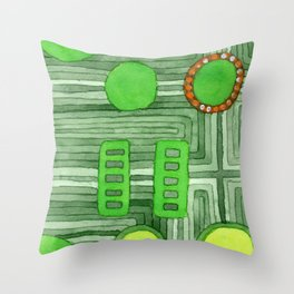 Embedded in Green Throw Pillow