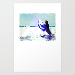 Surfing Devon Art Print