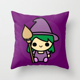 Cute spooky witch Throw Pillow