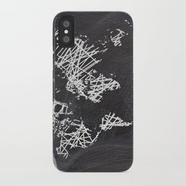 Scribble world map on chalkboard iPhone Case
