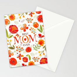 Mother's Day Watercolor Flowers and Butterflies Stationery Cards