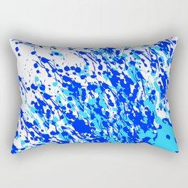 Splash and Drip Art Blue Rectangular Pillow