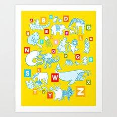 Yellow Alphabet Art Print