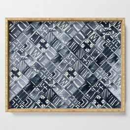 Simply Tribal Tiles in Indigo Blue on Lunar Gray Serving Tray