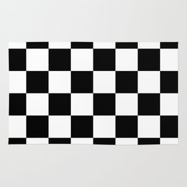 Contemporary Black & White Gingham Pattern Rug