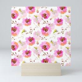 Pink Little Watercolor Spring Florals Mini Art Print
