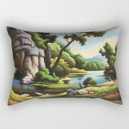 Classical Masterpiece 'Cave Spring' by Thomas Hart Benton Rectangular Pillow
