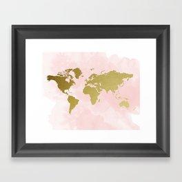Gold World Map Poster Framed Art Print