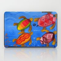 swimming iPad Cases featuring Swimming by Montes Arte Mexicano
